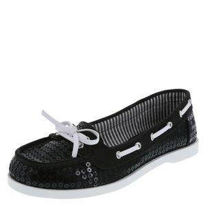 DEXFLEX COMFORT BLACK SEQUIN BOAT SHOE LOAFERS